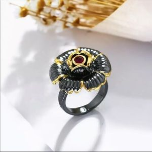 Black Gold Color Cubic Zirconia ring size 8